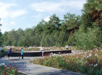 Собственная парковая зона с ландшафтным дизайном